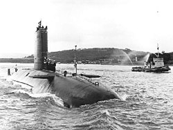 HMS Conqueror flying a Jolly Roger on returning to Faslane having sunk ARA General Belgrano