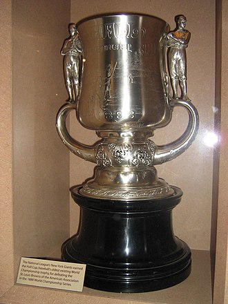 "1888 World Series - The Hall Cup was awarded to the Giants for defeating the Browns in the 1888 series. Now on display at the Baseball Hall of Fame, the exhibit says the cup is ""baseball's oldest existing World Championship trophy""."