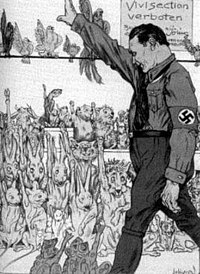 This cartoon appeared in Kladderadatsch, a German satirical magazine, on September 3, 1933, showing lab animals giving the Nazi salute to Hermann Göring, after restrictions on vivisection were announced.