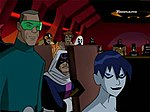 Major Disaster, sitting between Weather Wizard and Killer Frost, as he appeared on Justice League Unlimited.