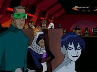 Major Disaster - Major Disaster, sitting between Killer Frost and Weather Wizard, as he appeared on Justice League Unlimited.
