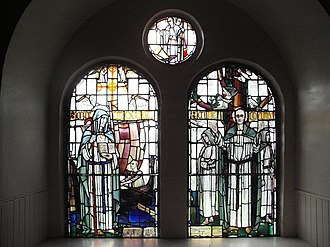 Moluag - The Saints Window in Kilmoluag, Lismore depicting St Moluag and St Columba