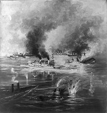 Indiana, painted white against a black sea, is steaming between and shooting at sinking and burning ships