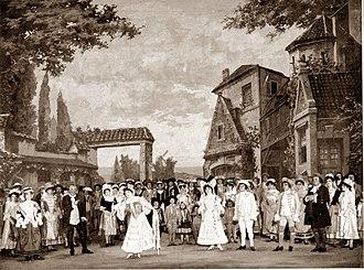 La cigale et la fourmi - Act I: Thérèse and Charlotte at front centre