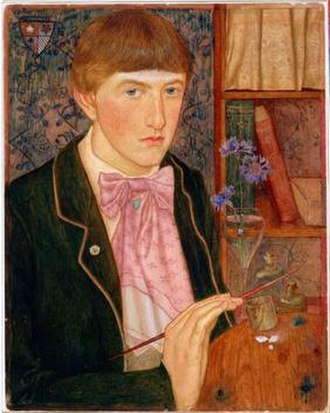 Maxwell Armfield - Self-Portrait (1901), Tempera on sketching board