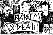 Fake cover for the Hatred Surge demo recording from 1985. From left-right: Justin Broadrick, Nicholas Bullen, Mick Harris