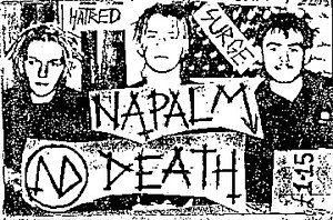 Napalm Death - Cover for the Hatred Surge demo recording from 1985. From left-right: Justin Broadrick, Nicholas Bullen, Mick Harris