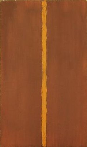"Barnett Newman - Onement 1, 1948. Museum of Modern Art, New York. The first example of Newman using the so-called ""zip"" to define the spatial structure of his paintings"