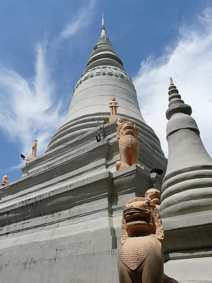Phnom Penh - Stupa of King Ponhea Yat on the top of Wat Phnom