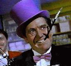 Penguin (character) - Burgess Meredith as the Penguin as he was seen in Batman. Note that his top hat and tie were both purple, instead of either his top hat being black or his tie white.
