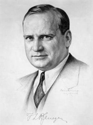 Timothy L. Pflueger - Pflueger in 1936, sketched by Peter van Valkenburg. Signed: T. L. Pflueger