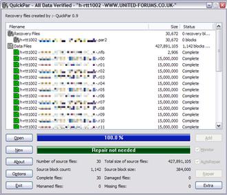 QuickPar - Image: Quick Par Screenshot