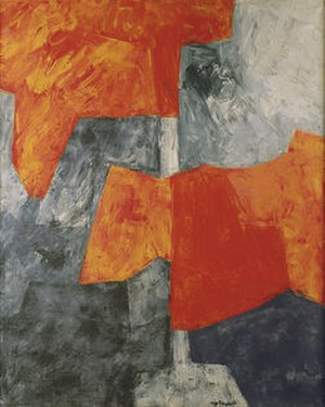 Serge Poliakoff - Composition grise et rouge, 1964, oil on canvas, 160x130cm