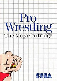 Box art for Sega Master System game pro wrestling, featuring a muscle bound professional wrestler holding his head in his arms