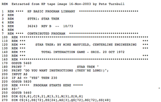 <i>Star Trek</i> (1971 video game) command line computer game