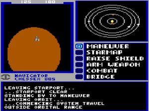 Starflight - The player's starship just outside of Arth's orbit, with the navigator engaging the maneuver command