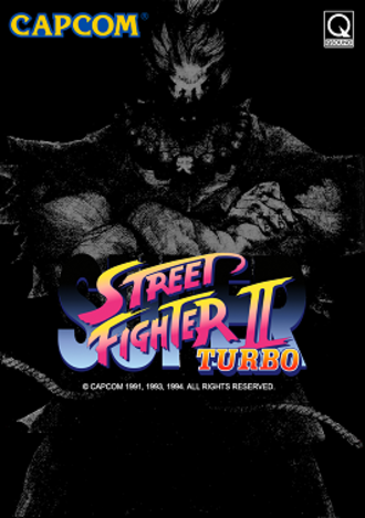 Super Street Fighter II Turbo - Promotional brochure for the arcade version of Super Street Fighter II Turbo, featuring Akuma