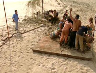 Survivor (franchise) - Tribes compete frequently in both mental and physical challenges to win rewards or immunity, such as this race to pull cannons during the first episode of Survivor: Pearl Islands.