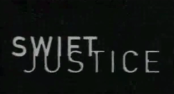 "White capital letters saying ""SWIFT JUSTICE"" are placed over a black screen."