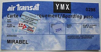 Boarding pass - An older, non-computerized Air Transat boarding pass from 2000.