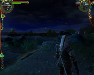 The Witcher (video game) - A screenshot of an outdoor scene in The Witcher displaying additional lighting effects