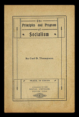 Carl D. Thompson - Cover of Thompson's first pamphlet, published in 1900.