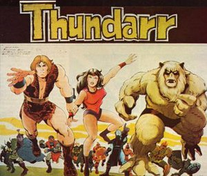 Thundarr the Barbarian - 1980 Thundarr the Barbarian promotional image  Foreground from left to right Thundarr, Ariel, and Ookla