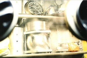 Nuclear proliferation - Mordechai Vanunu's photograph of a Negev Nuclear Research Center glove box containing nuclear materials in a model bomb assembly, one of about 60 photographs he later gave to the British press