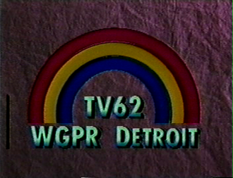 """WWJ-TV - WGPR station ID, 1980s. Variations of this """"rainbow"""" logo would be used until CBS purchased it in 1995."""