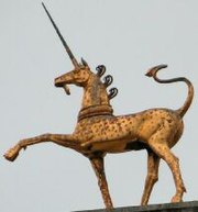 An old Welsh statue of a unicorn
