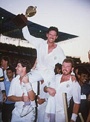 1987 Cricket World Cup - Australian captain Allan Border with the trophy