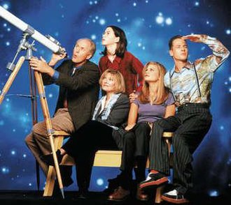 3rd Rock from the Sun - From left to right: John Lithgow as Dick, Joseph Gordon-Levitt (top) as Tommy, Jane Curtin (bottom) as Mary, Kristen Johnston as Sally, and French Stewart as Harry