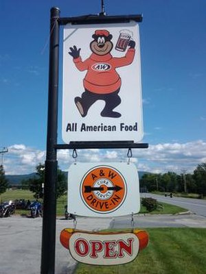 A&W Restaurants - The roadside sign in front of the Middlebury, Vermont, location