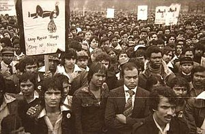 British Bangladeshi - Protest march by Bangladeshis to Downing Street with murdered Altab Ali's coffin, 1978