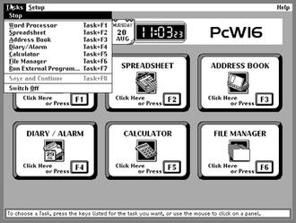 Amstrad PCW -  The PcW16's main screen