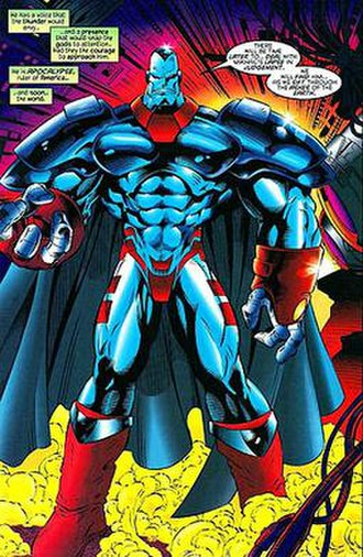 "Apocalypse (comics) - Apocalypse, as depicted in the pages of X-Men Alpha (February 1995), during the ""Age of Apocalypse"" storyline. Art by Roger Cruz."
