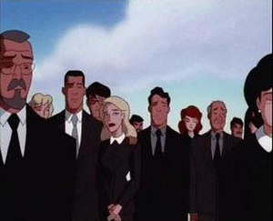 Superman: The Animated Series - The mourners attending Dan Turpin's funeral in the edited version.