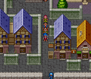 Breath of Fire II - Navigation on a town's map.