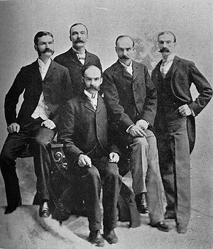 Ball Brothers - The Ball Brothers from left to right: William Charles Ball (1852–1921), Frank Clayton Ball (1857–1943), Lucius Lorenzo Ball (seated) (1850–1932), Edmund Burke Ball (1855–1925), George Alexander Ball (1862–1955)