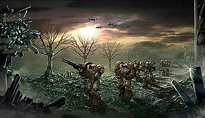 Command & Conquer 3: Tiberium Wars - Early concept artwork of GDI Zone Troopers crossing a Tiberium field.