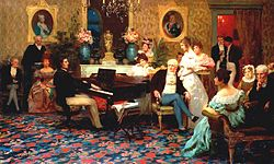 Chopin plays piano in Radziwiłł's Berlin salon at Palais Radziwill (Henryk Siemiradzki, 1887);[1][2] (Source: Wikimedia)