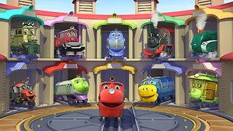 Chuggington - Chuggington characters in their roundhouse