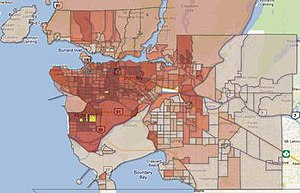 Ethnoburb - Geographic distribution of residents of Chinese ancestry in Greater Vancouver