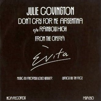 Don't Cry for Me Argentina - Image: Dont cry for me argentina julie covington uk vinyl single