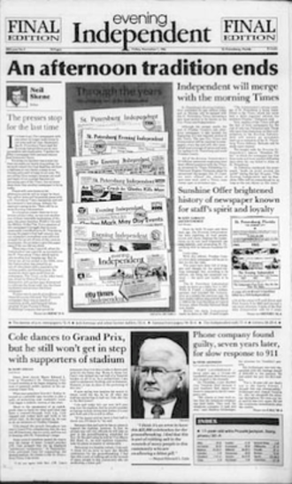 Evening Independent - The front page of the final edition of The Evening Independent on November 07, 1986