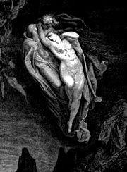"""""""Love led the two of us unto one death"""" (Dante, Inferno V.108). Illustration of Francesca da Rimini by Gustave Dore."""