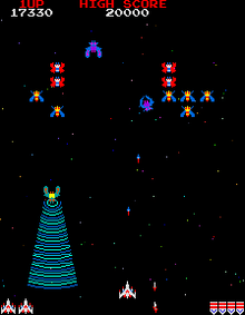 "Galaga, a successful game of the Golden Age, borrows its theme from Galaxian and adds twists of its own. Some enemies attempt to ""capture"" the player's fighter and he can try to retrieve it later."