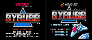Gyruss - NES Title Screen (Left) and FDS Title Screen (Right)