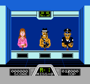 Hogan's Alley (video game) - A wall round of Hogan's Alley. The middle target is a gangster who must be shot; the lady and policeman to either side must be left alone.