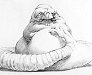 Concept artwork of Jabba the Hutt for Return of the Jedi designed by Industrial Light & Magic.